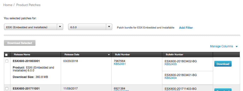 VMware 补丁列表