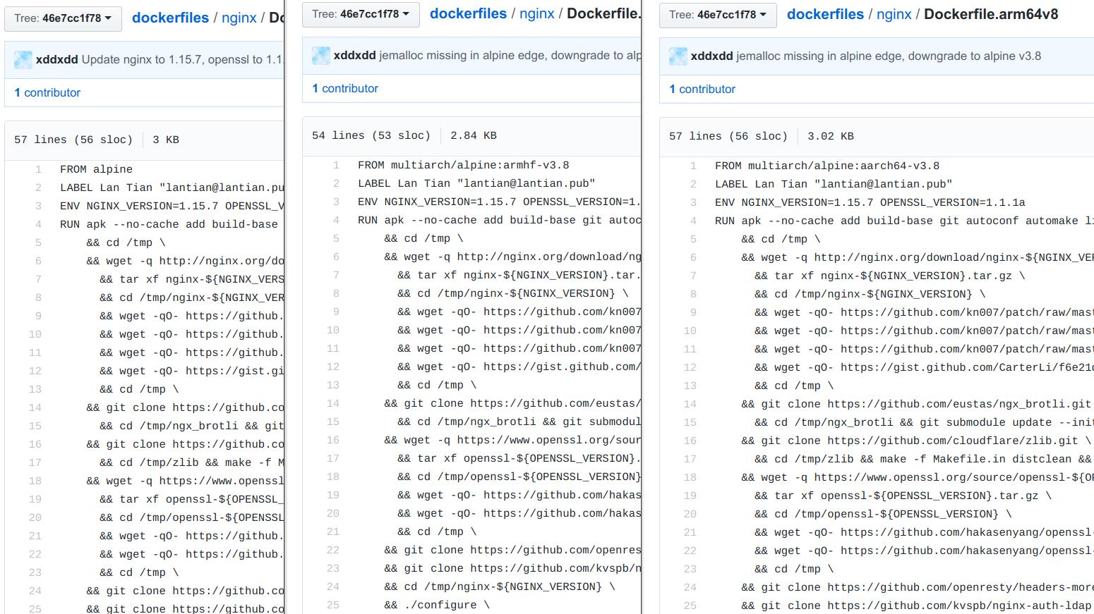 每个架构都有一个独立的 Dockerfile
